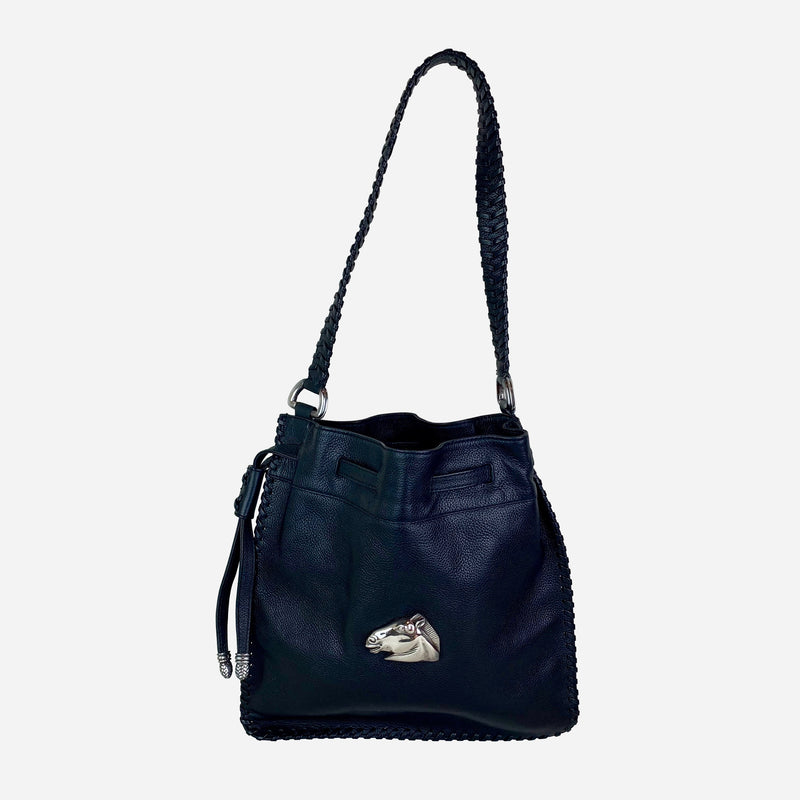 Black Leather Horse Drawstring Shoulder Bag