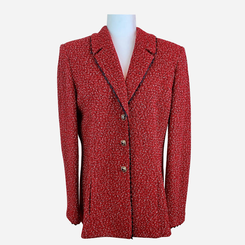 Red Notch-Lapel Knit Blazer
