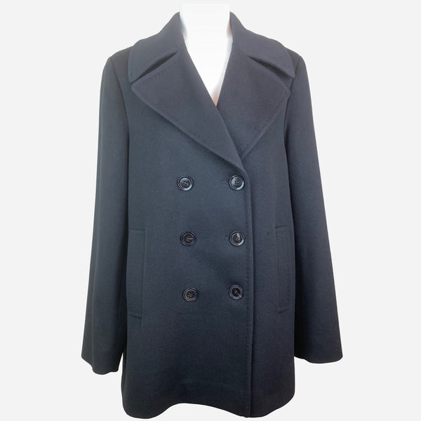Fleurette Black Double-Breasted Notch-Lapel Wool Coat