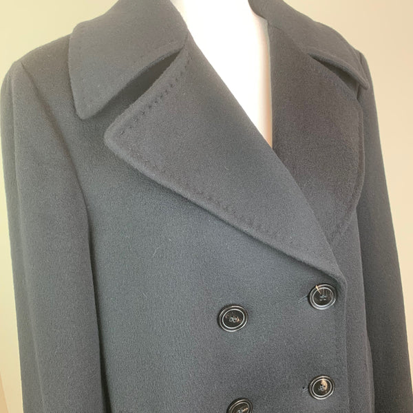 Black Double-Breasted Notch-Lapel Wool Coat