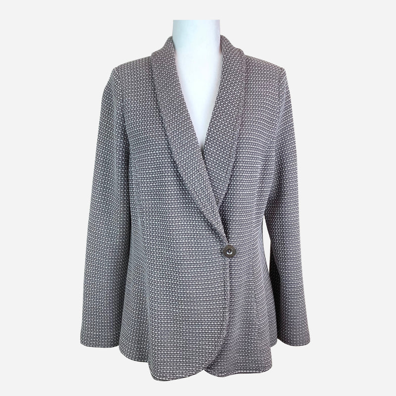St. John Gray Shawl Collar Knit Blazer