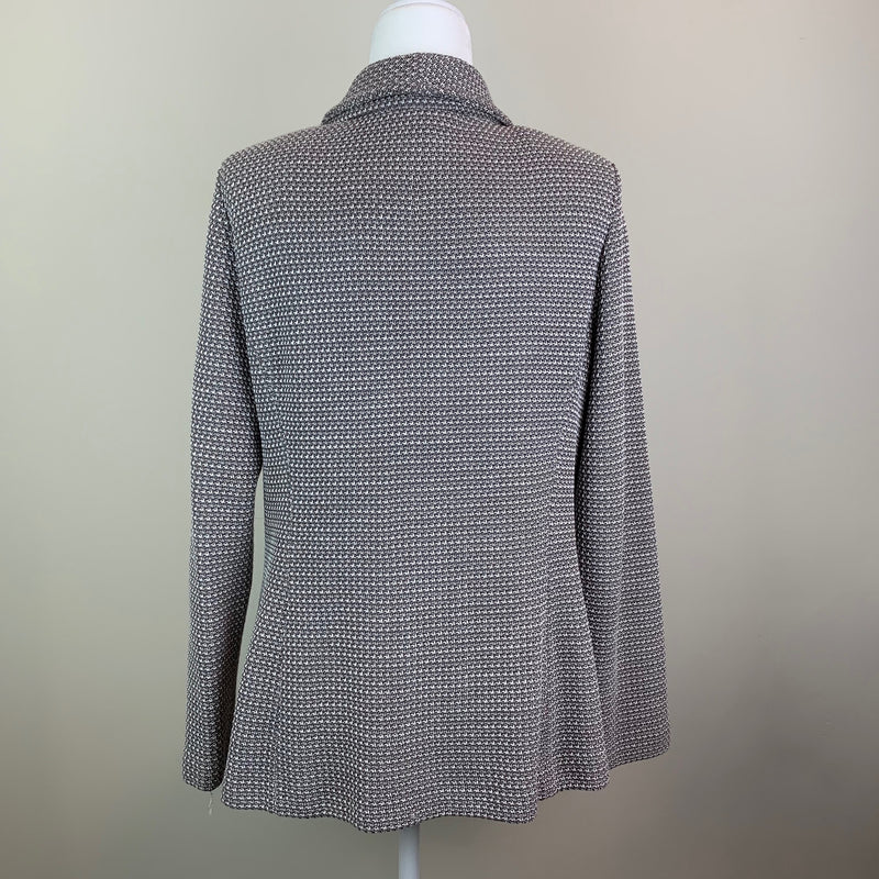 Gray Shawl Collar Knit Blazer
