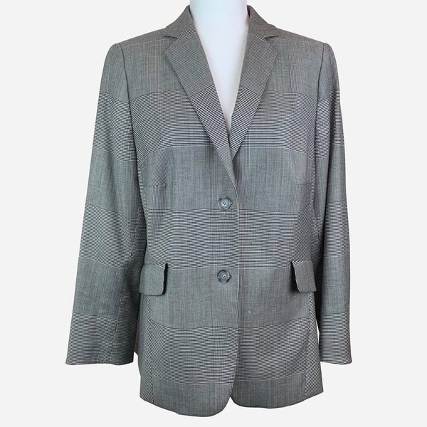 Akris Punto Checked Notch-Lapel Structured Blazer