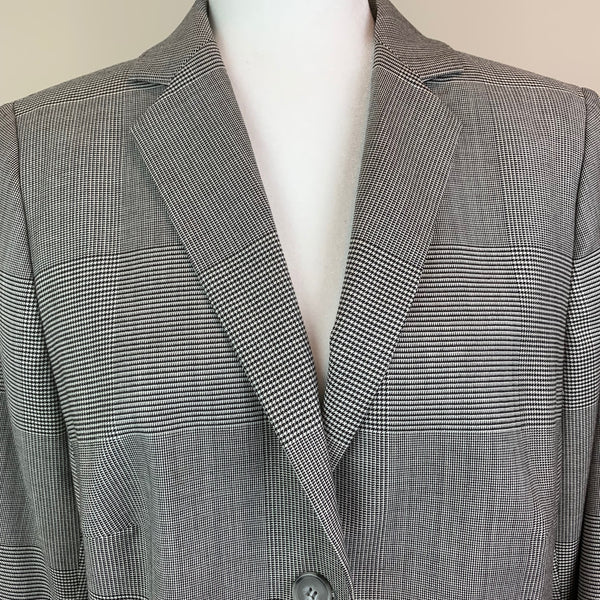 Checked Notch-Lapel Structured Blazer