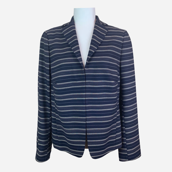 Navy Blue Striped Notch-Lapel Blazer