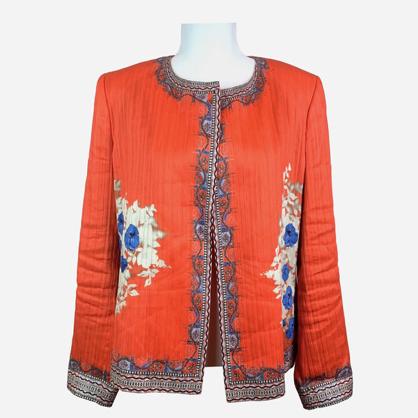 Etro Linen and Silk Floral Printed Jacket