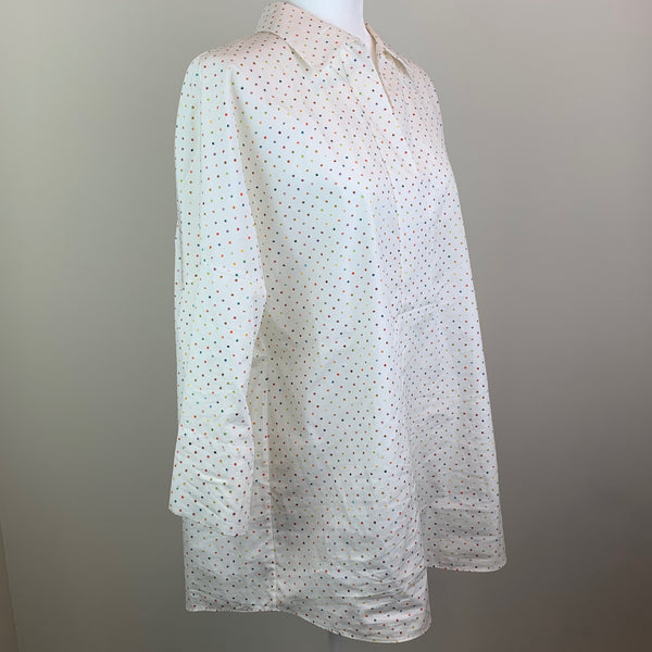Multicolored Polka Dot Pointed Collar Blouse