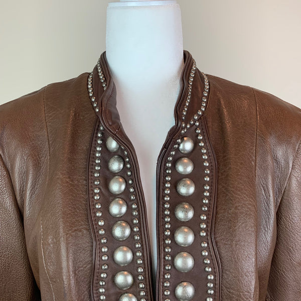 Brown Open-Front Leather Jacket