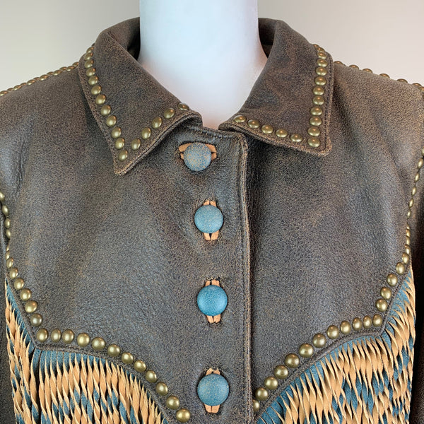 Double D Ranchwear Brown Distressed Leather Jacket