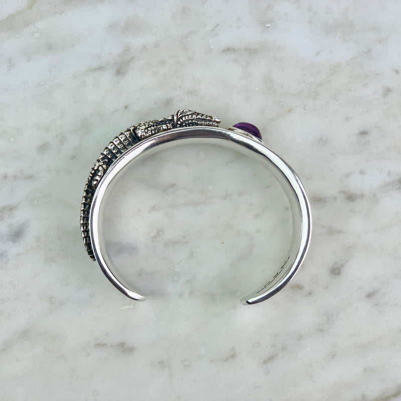Sterling Silver and Amethyst Alligator Cuff Bracelet