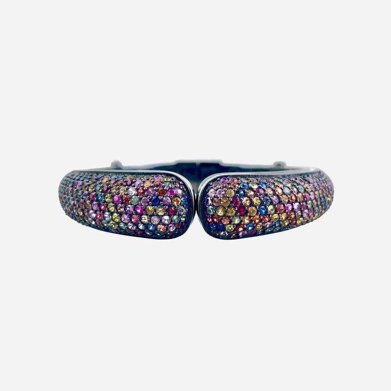 Sterling Silver and Multicolor Sapphire Hinged Cuff Bracelet