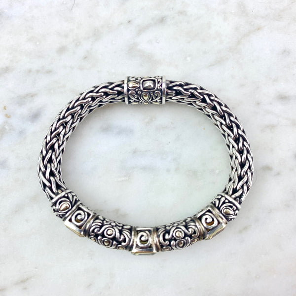 John Hardy 18K and Sterling Silver Quartz Classic Chain Bracelet