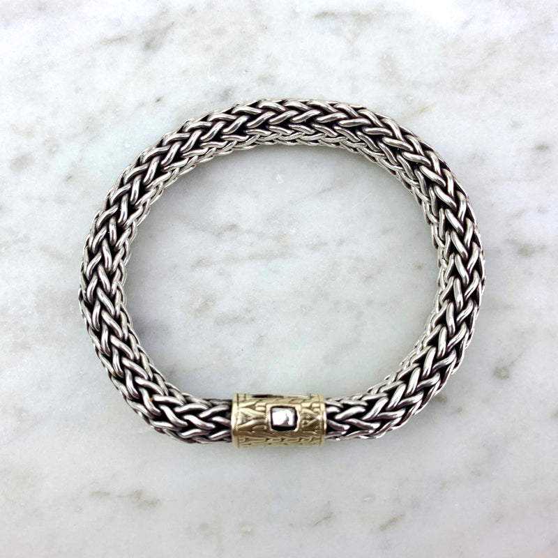 18K Yellow Gold and Sterling Silver Classic Chain Bracelet