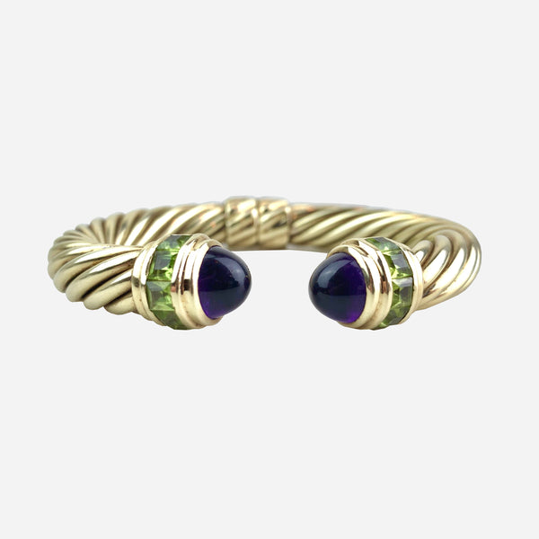 14K Amethyst and Peridot Classic Cable Cuff Bracelet