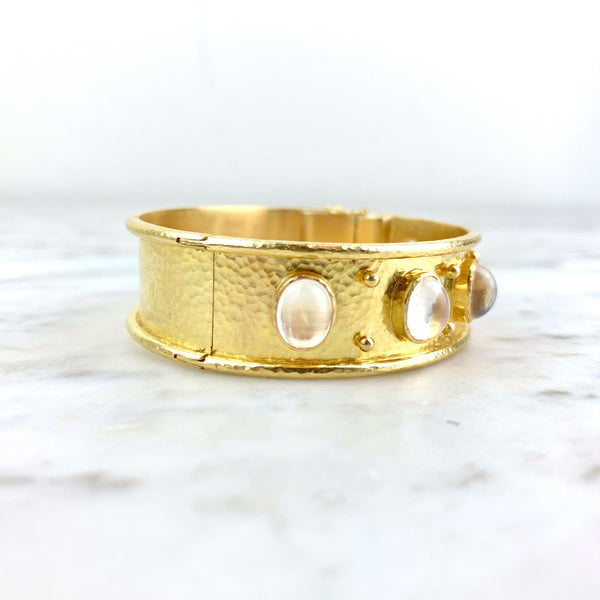 19K Yellow Gold and Moonstone Flat Wide Bangle Bracelet