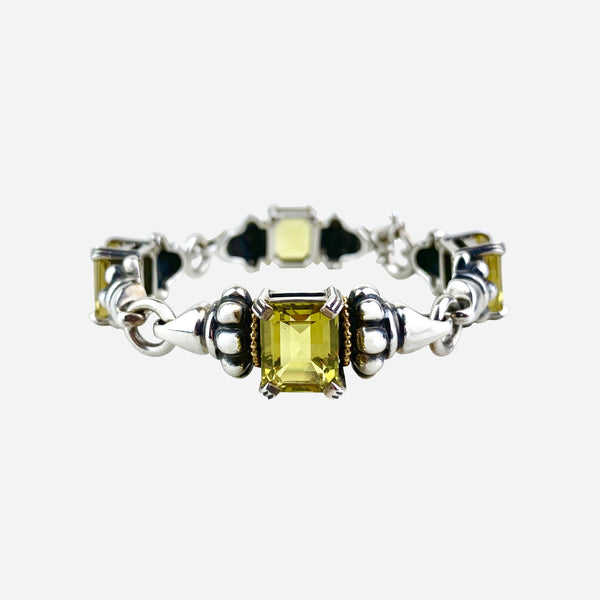 18K Yellow Gold and Sterling Silver Quartz Caviar Link Bracelet