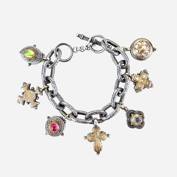 Konstantino Sterling Silver, 18K Pearl and Multistone Charm Bracelet