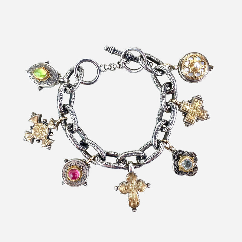 18K Yellow Gold, Sterling Silver, Pearl and Multistone Seven Charm Bracelet