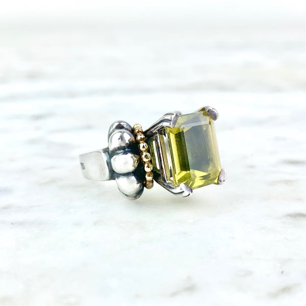 18K Yellow Gold and Sterling Silver Quartz Caviar Cocktail Ring