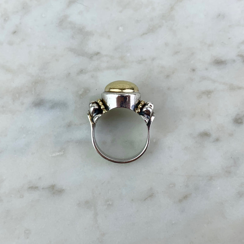 18K Yellow Gold and Sterling Silver Caviar Cocktail Ring