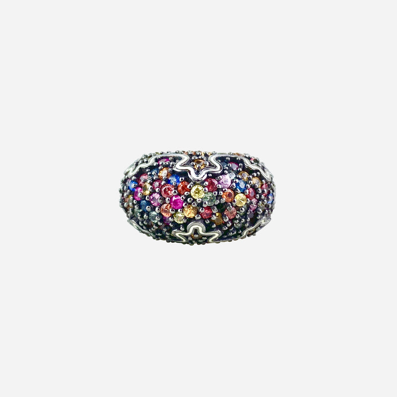 Sterling Silver and Multicolor Sapphire Cocktail Ring