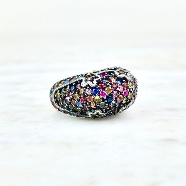 M.C.L. by Matthew Campbell Laurenza Sterling Silver and Multicolor Sapphire Cocktail Ring