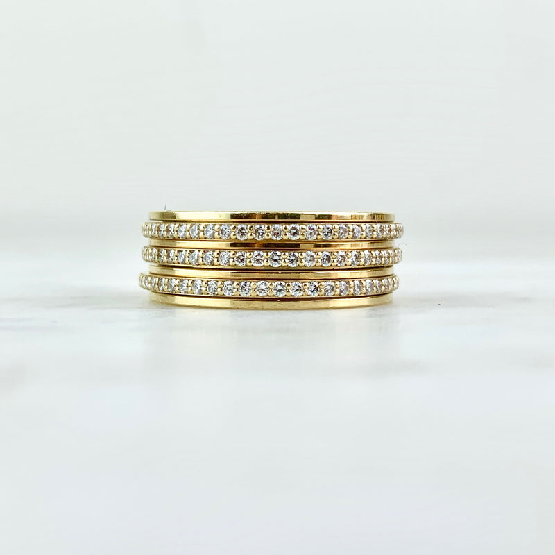 18K Yellow Gold and Diamond Three-Row Possession Band Ring