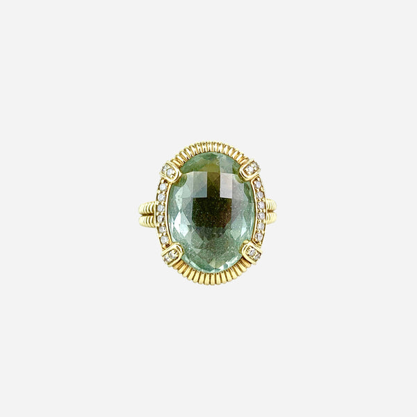 Judith Ripka 18K Prasiolite and Diamond Cocktail Ring