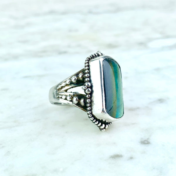Stephen Dweck Sterling Silver Moonstone Labradorite Cocktail Ring