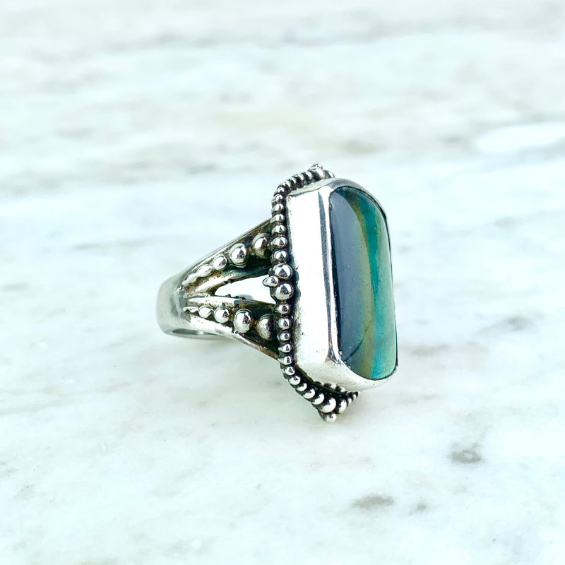 Sterling Silver Moonstone Labradorite Cocktail Ring
