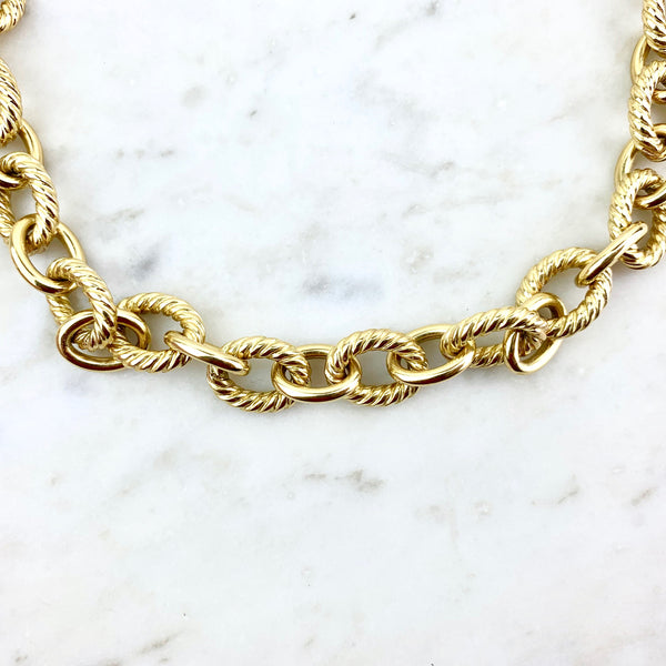David Yurman 18K Belmont Curb Necklace