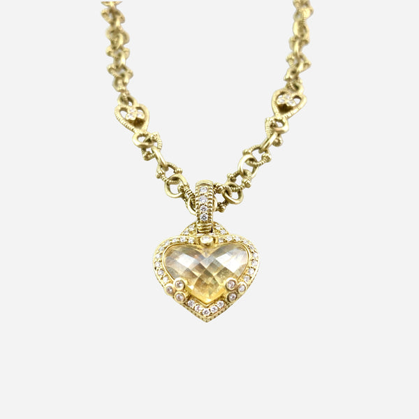 18K Yellow Gold, Canary Crystal and Diamond Pendant Necklace