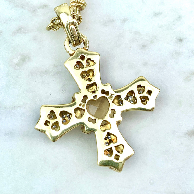 18K Yellow Gold, Diamond and Canary Crystal Cross Pendant Necklace