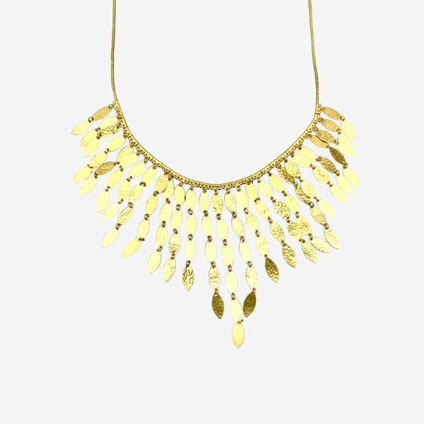 24K Hammered Yellow Gold Willow Leaf Necklace