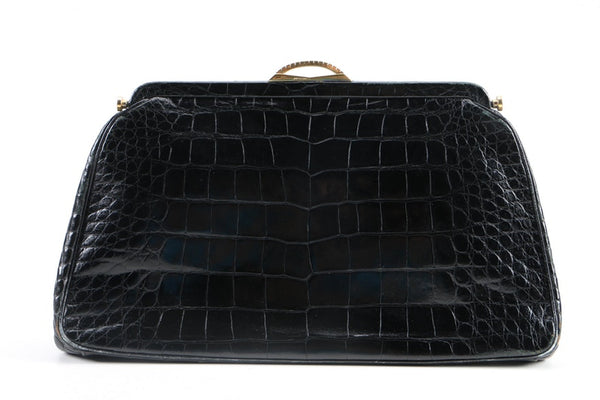 Vintage 1960s Lucille de Paris Black Alligator Leather Clutch