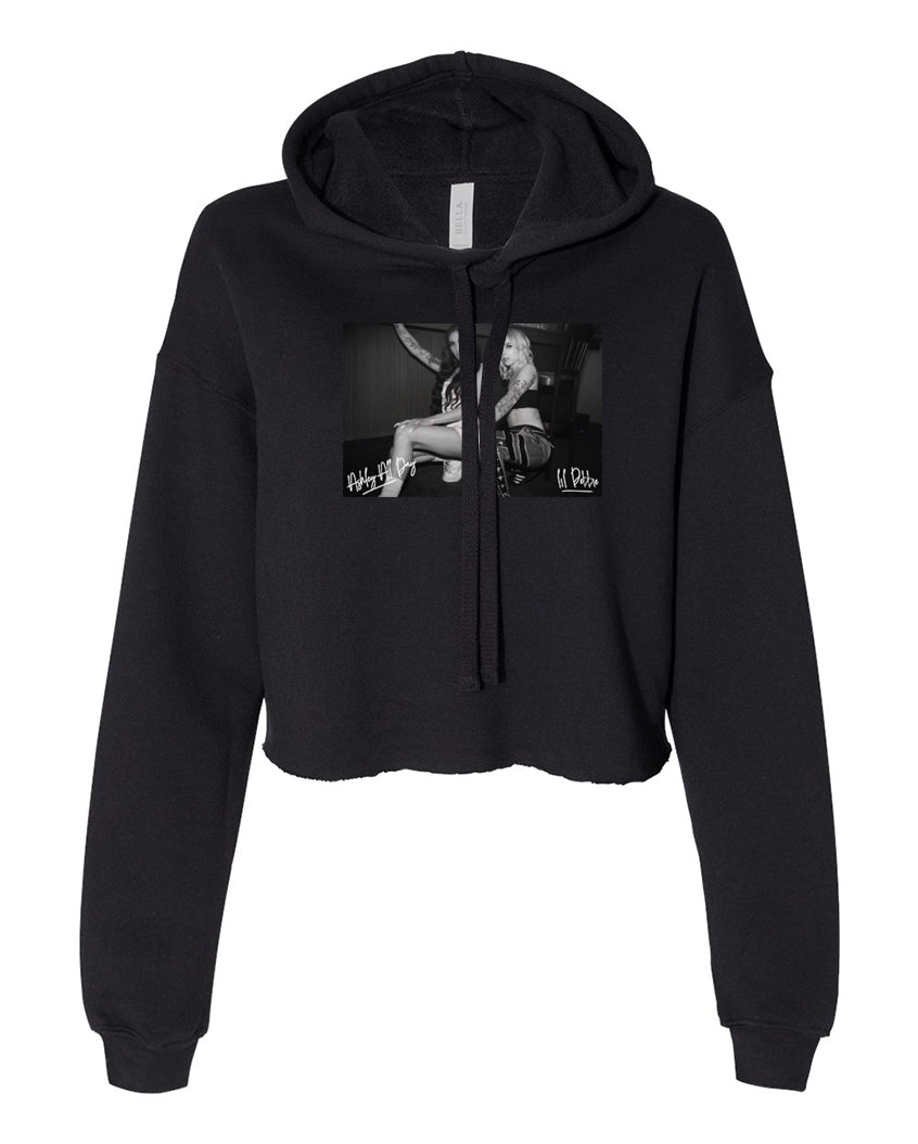 ASHLEY ALL DAY X LIL DEBBIE - PSYCHO BLACK CROP HOODIE