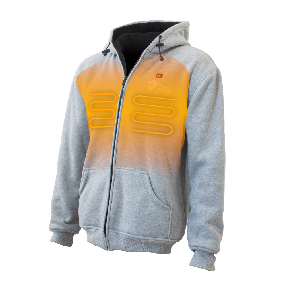 Talon Mens Heated Hoodie Front View - Storm Color