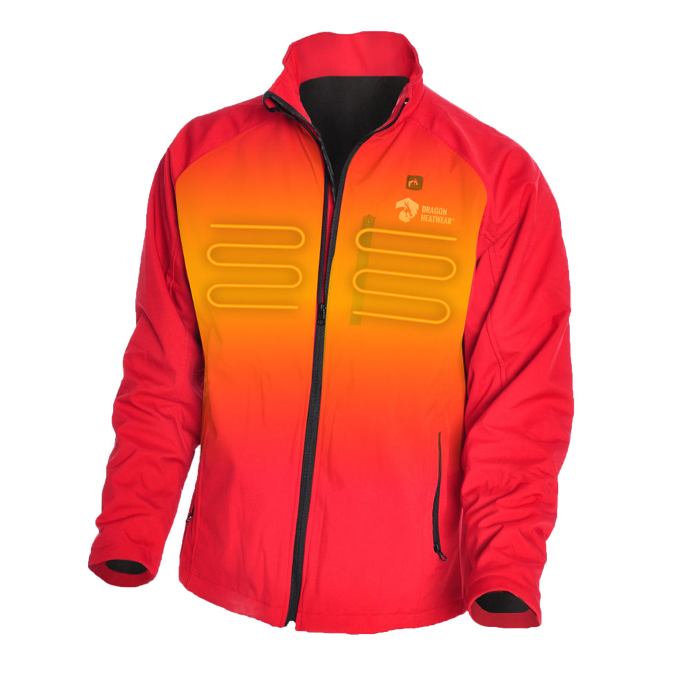 Wyvern Mens Heated Jacket Front View - Crimson Color