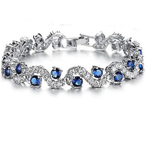 Luxury Blue Crystal Rhinestone Bracelet.
