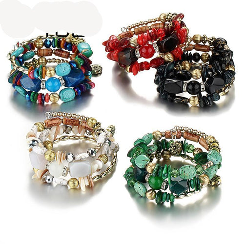 Beads Crystal Ethnic Tibet Multilayer Natural Stone Bracelet.