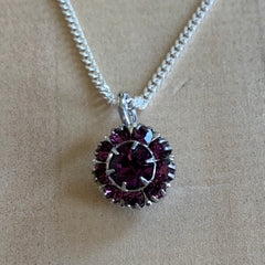 recycled amethyst pendant on sterling silver chain
