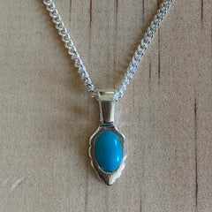 recycled turquoise gemstone on sterling silver pendant and chain