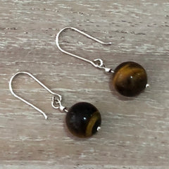 Sterling silver 10mm Tigers Eye drop earrings