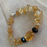 Handcrafted bracelet with citrine gemstones and onyx with sterling silver toggle clasp