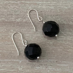 Handcrafted faceted black onyx sterling silver earrings