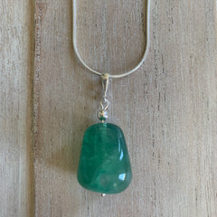 handcrafted fluorite sterling silver pendant on sterling silver snake chain