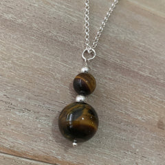 Handcrafted sterling silver Tiger's Eye pendant on rolo chain