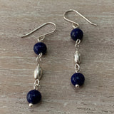 handmade lapis lazuli gemstones and oval sterling silver bead drop earrings
