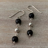 handmade red garnet gemstones and round sterling silver bead drop earrings