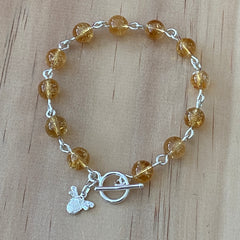 Sterling silver citrine and bee charm bracelet